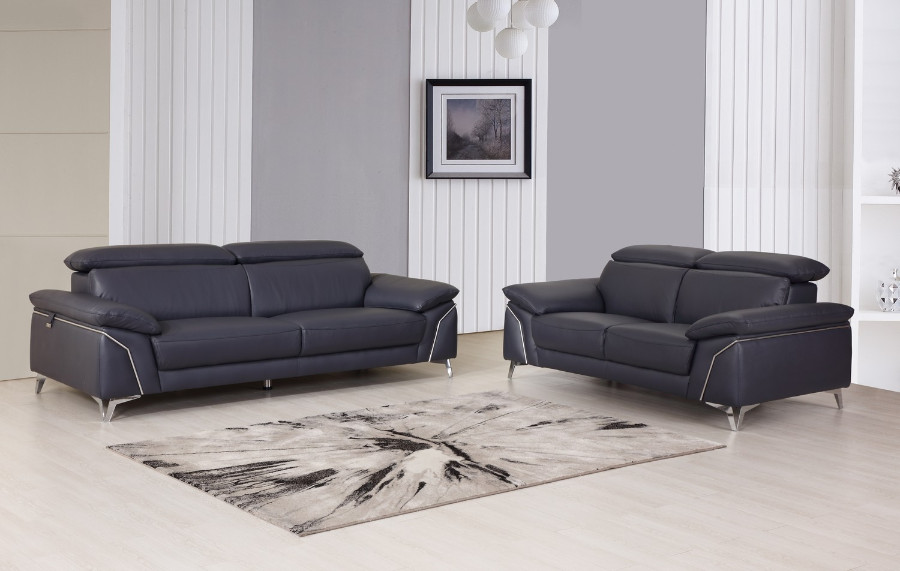 727NAVY-2PC 2 pc Orren ellis luigi divanitalia navy italian leather sofa and love seat set