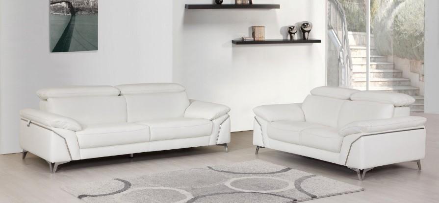 727WH-2PC 2 pc Orren ellis luigi divanitalia white italian leather sofa and love seat set