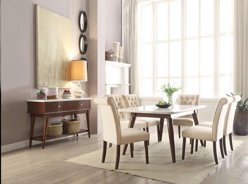 Acme 72820-22 7 pc Gasha walnut finish wood and white marble top dining table set