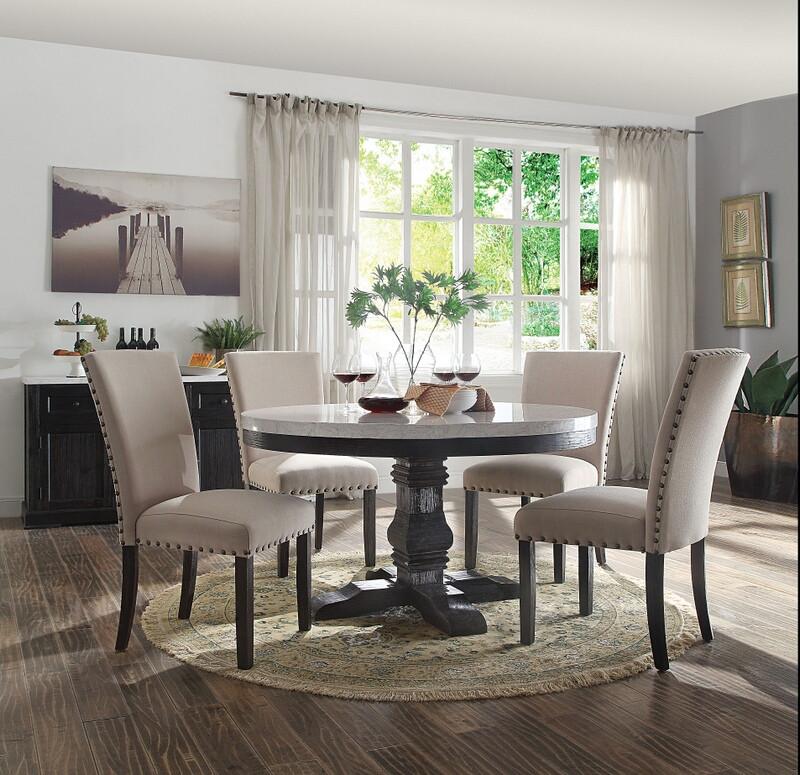"Acme 72845-52 5 pc Gracie oaks demopolis nolan white marble top salvaged dark oak finish wood 54"" round dining table set"