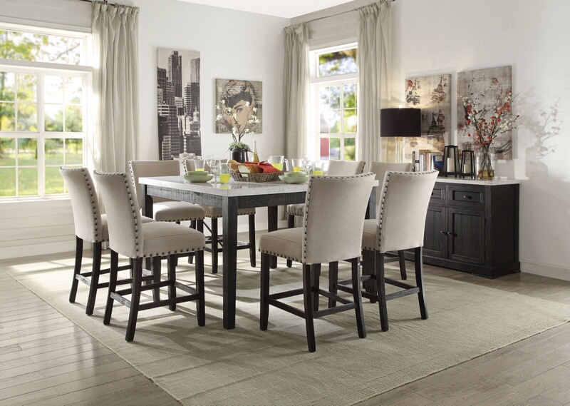 Acme 72855-57 7 pc Nolan salvage dark oak finish wood marble top counter height dining table set
