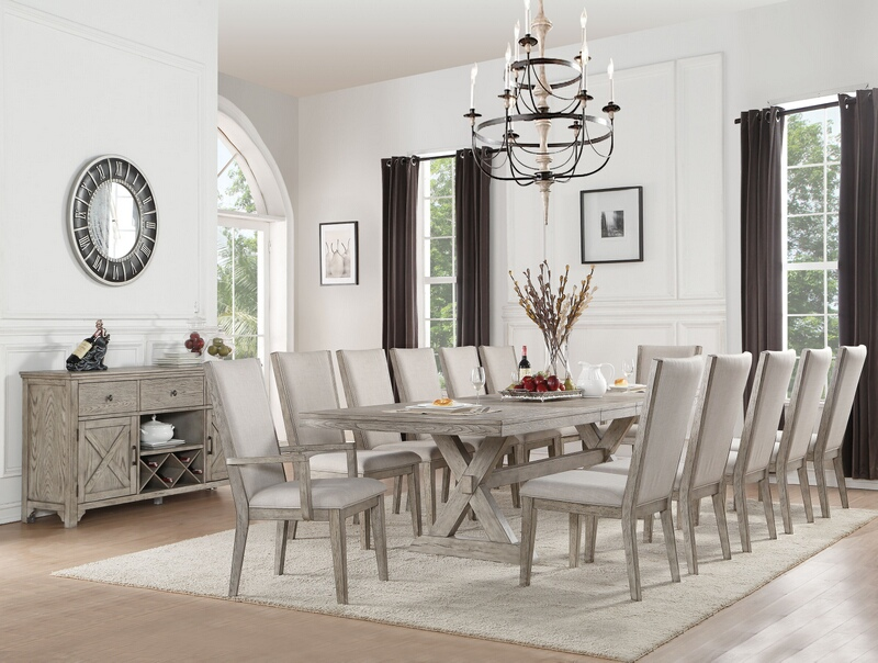 "Acme 72860-62-63 7 pc Gracie oaks denham rocky gray oak finish wood 118"" long double pedestal dining table set"