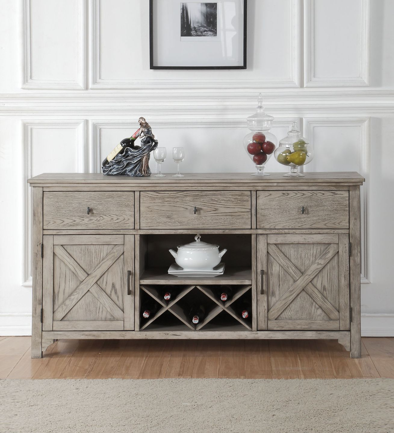 Acme 72864 Gracie oaks denham rocky gray oak finish wood sever sideboard cabinet