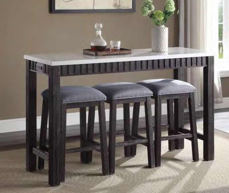Acme 72930 4 pc Necalli weathered espresso finish wood marble top counter height dining table set