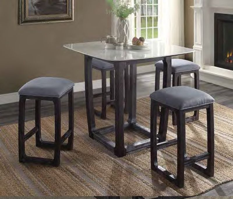 Acme 72935 5 pc Razo weathered espresso finish wood marble top square counter height dining table set
