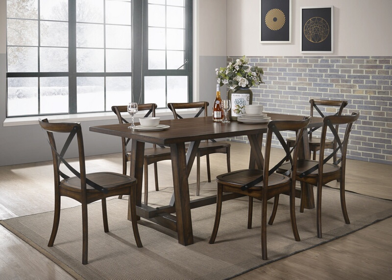 Acme 73030-32 7 pc Kaelyn dark oak finish wood black accents dining table set