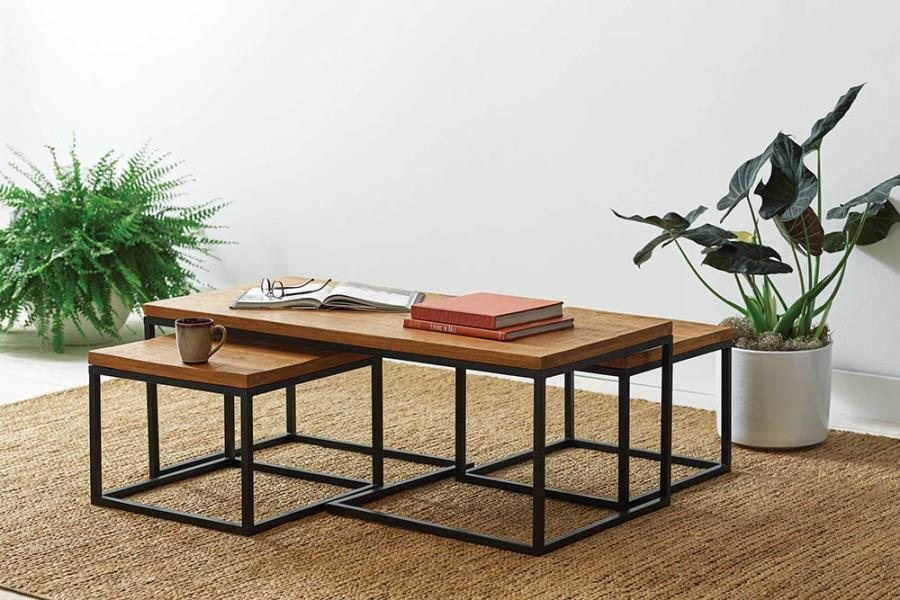 731193 Carbon loft jensine mid century modern style natural finish wood matte black frame coffee and end table set