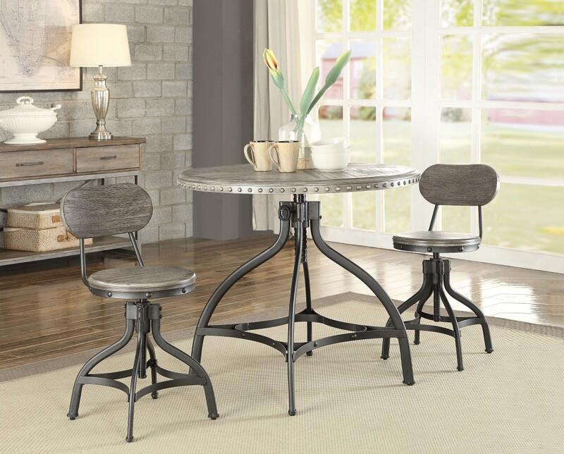 "Acme 73130 3 pc Fatima II gray oak finish wood metal 36"" round counter height table set"