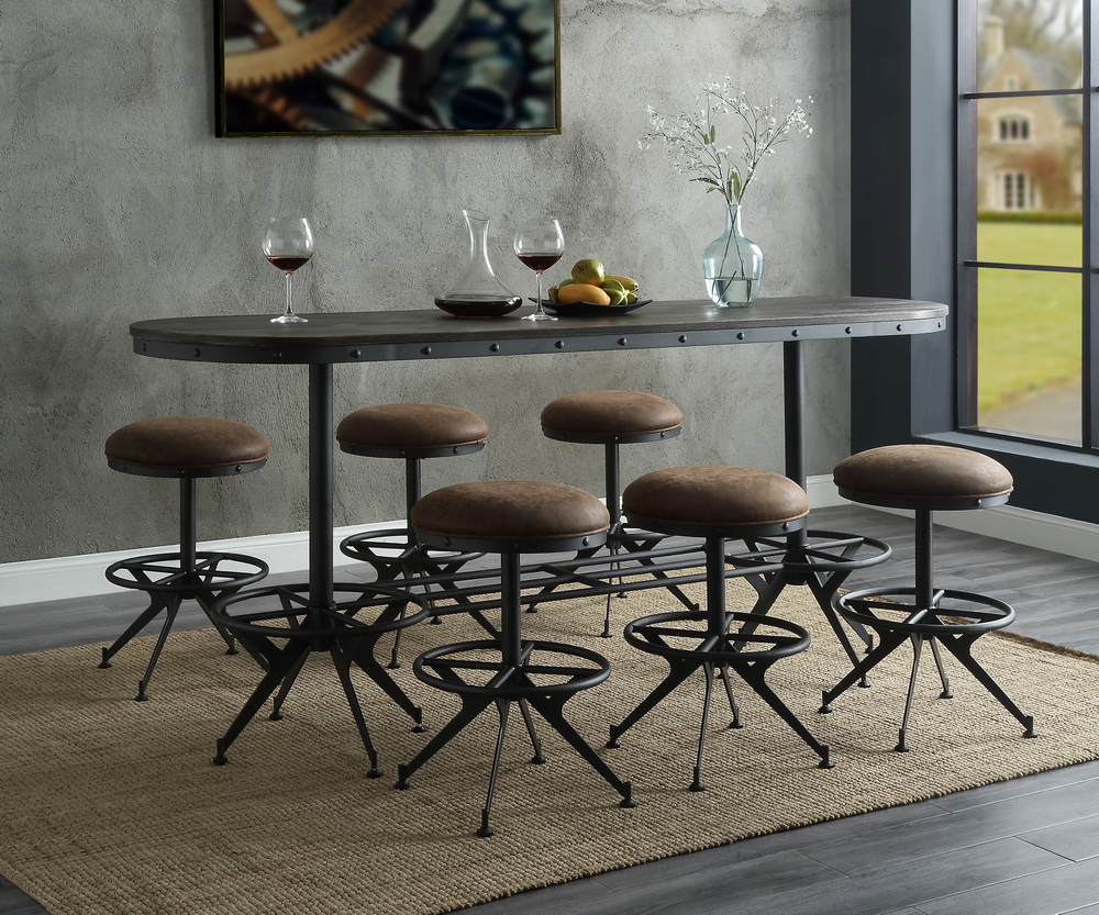 Acme 73990-92 7 pc Wildon home zangief salvaged brown and black finish counter height dining table set