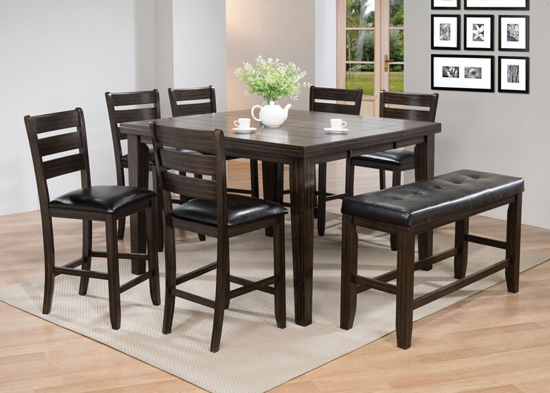 Acme 74630-33-34 8 pc urbana iii plank top espresso finish wood counter height dining table set