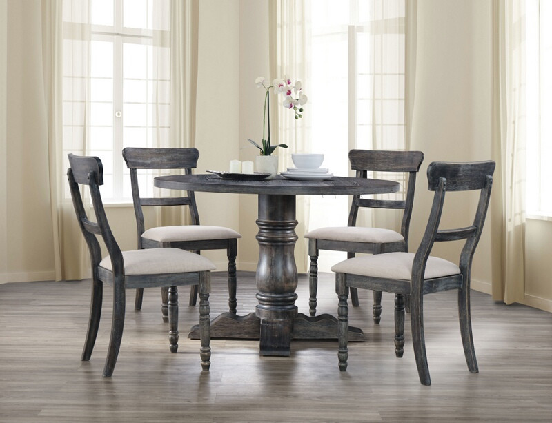 """Acme 74640-42 5 pc Leventis weathered gray finish wood 47"""" round dining table set"""