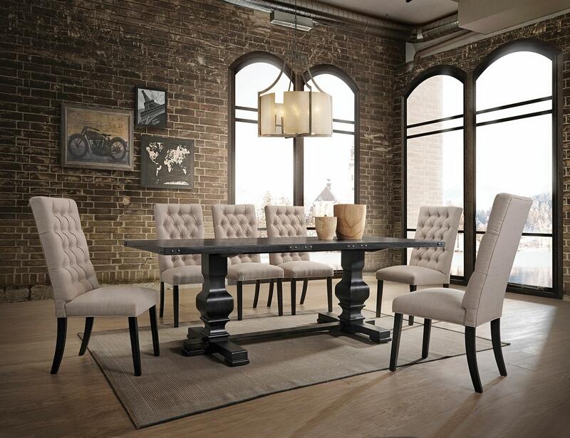 Acme 74645-47 7 pc Gracie oaks demello morland vintage black finish wood double pedestal dining table set