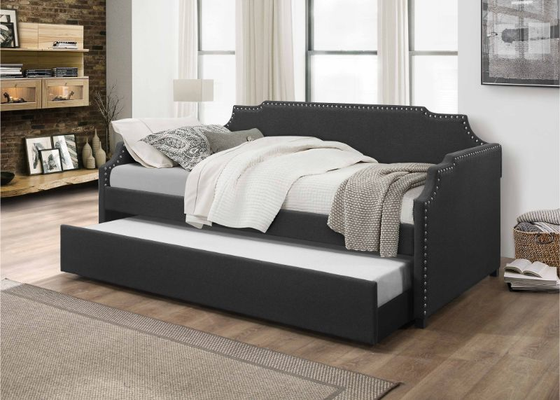 7511 Ebern designs oak hill dark gray linen like fabric nail head trim twin day bed with trundle