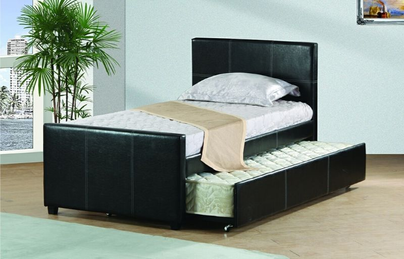 7526-T Wrought studio shula black faux leather twin size bed with twin size trundle bed