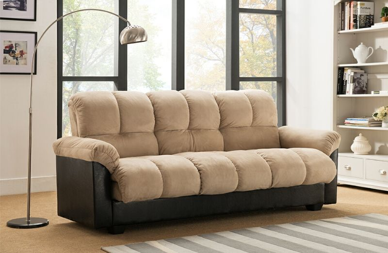 7538-BG Latitude run capri beige champion textured fabric adjustable storage sofa futon