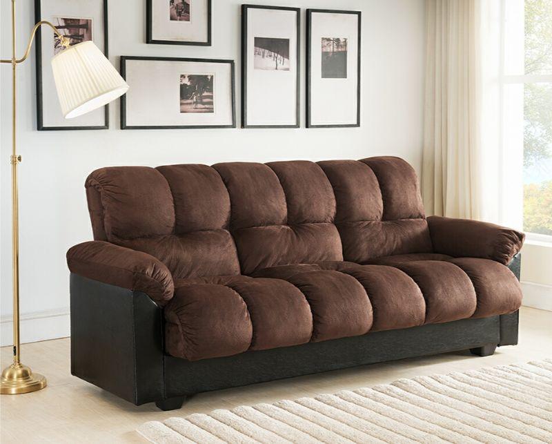 7538-DB Latitude run capri chocolate champion textured fabric adjustable storage sofa futon