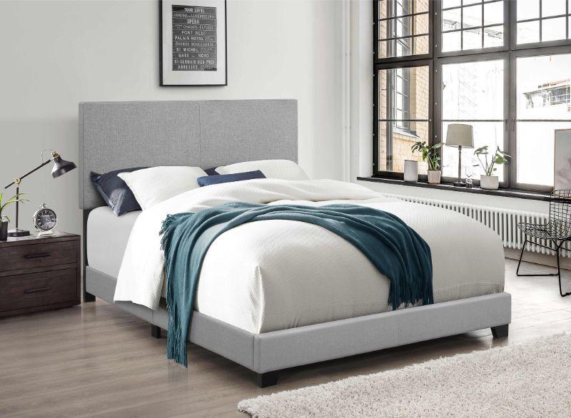 7553 Home source regents light gray linen like fabric queen bed set