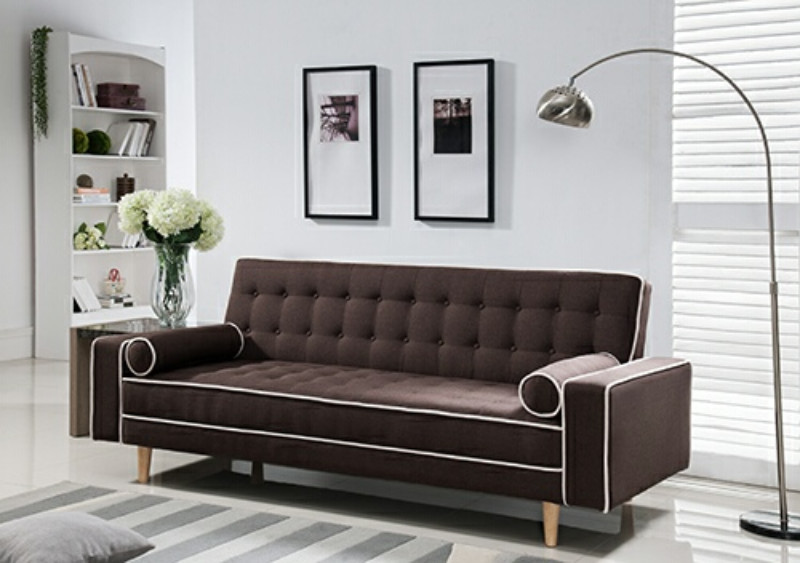 7567-BR Marleen brown linen like fabric click clack folding futon sofa bed