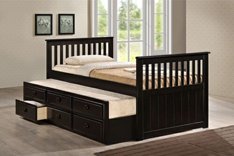 7590-ESP Harriet bee riley captains mission style espresso finish wood twin size bed with storage trundle bed