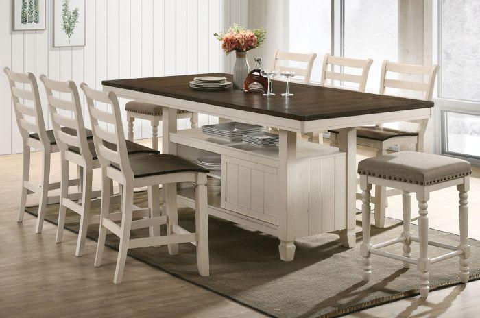 Acme 77180-83 7 pc Gray barn rooney tasnim antique white oak finish wood counter height dining table set
