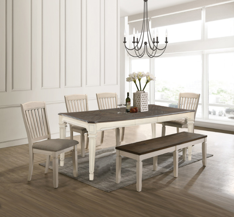 Acme 77135-92-93 6 pc Gray barn rooney fedel antique white oak finish wood dining table set with bench