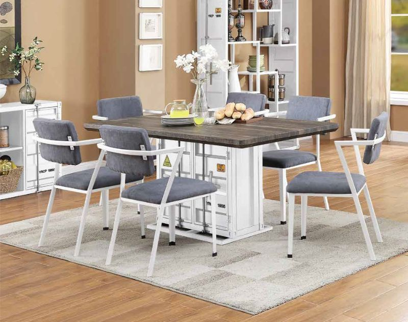 Acme 77880-82 7 pc Cargo container antique walnut wood white metal dining table set