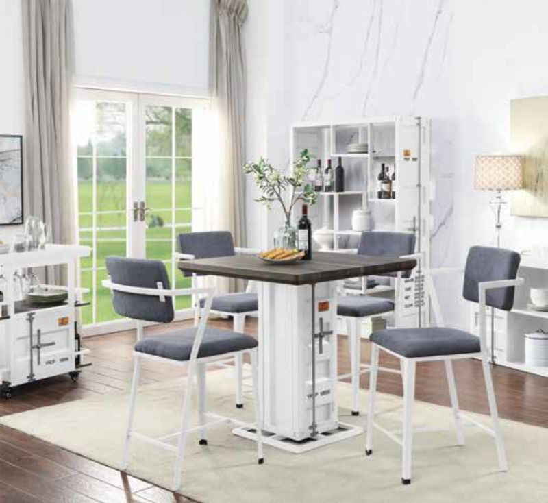 Acme 77885-87 5 pc Cargo container antique walnut wood white metal counter height dining table set