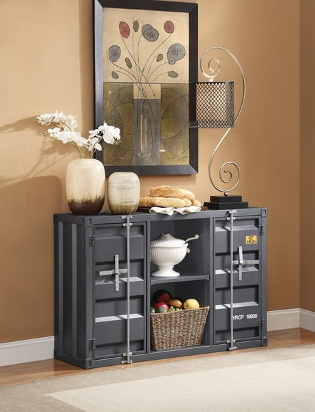 Acme 77910 Cargo container gunmetal metal dining server buffet sideboard cabinet