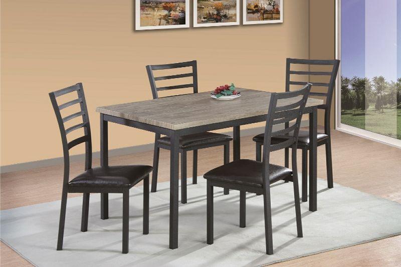 7808-5PC 5 pc Red barrel studio frankie gray finish wood dining table set