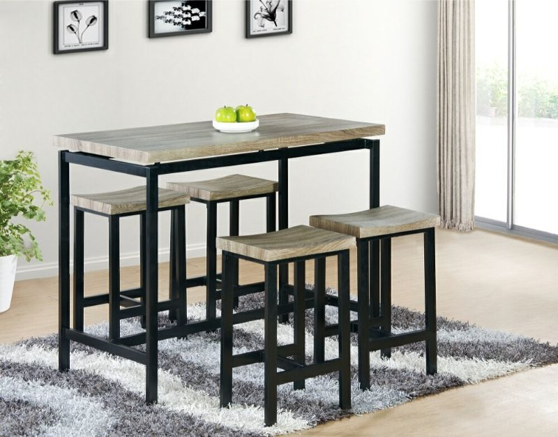 7818-5PK  5 pc Wrought studio denzel natural tone finish wood counter height dining table set