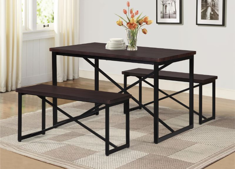 7850-Brown 3 pc Williston Forge Bearden brown finish wood picnic style dining table set