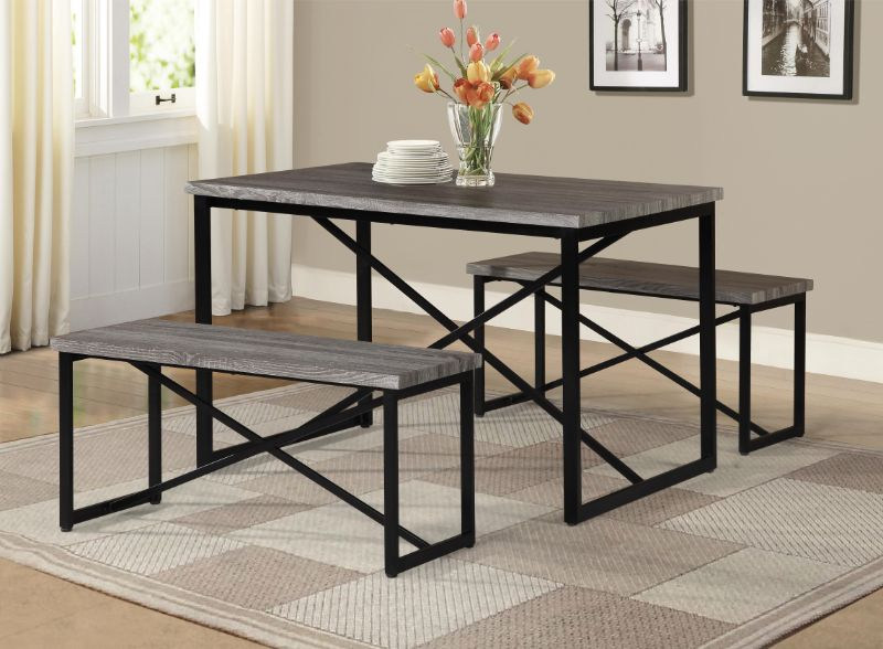 7850-Natural 3 pc Williston Forge Bearden natural finish wood picnic style dining table set