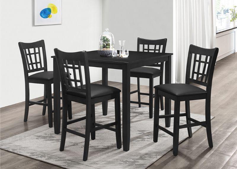 7855-5PC 5 pc Winston porter charlene black finish wood counter height dining table set