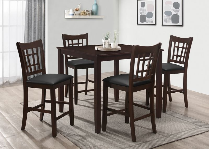 7856-5PC 5 pc Winston porter charlene espresso finish wood counter height dining table set