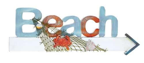 Stylish wood beach sign in marine theme with net and marine life brand woodland