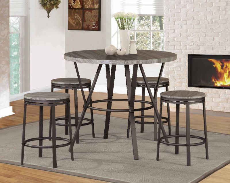 7877NAT-5PC 5 pc Leka gracie oaks natural round faux wood grain top counter height dining table set