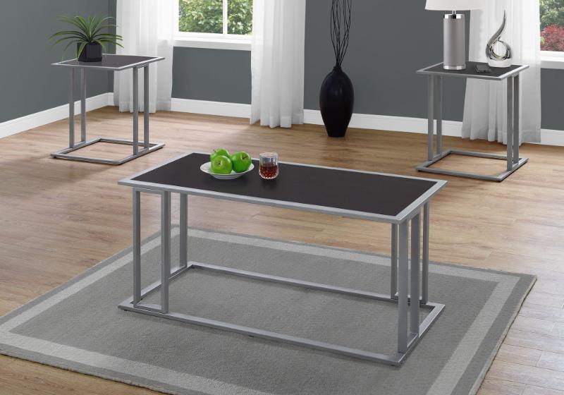 TABLE SET - 3PCS SET / ESPRESSO / SILVER METAL