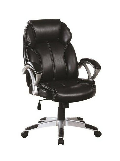 Executive office chair black leatherette and silver finish base with casters