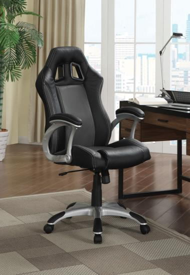 Brandon ii collection stylish seat and back black faux leather office chair with casters