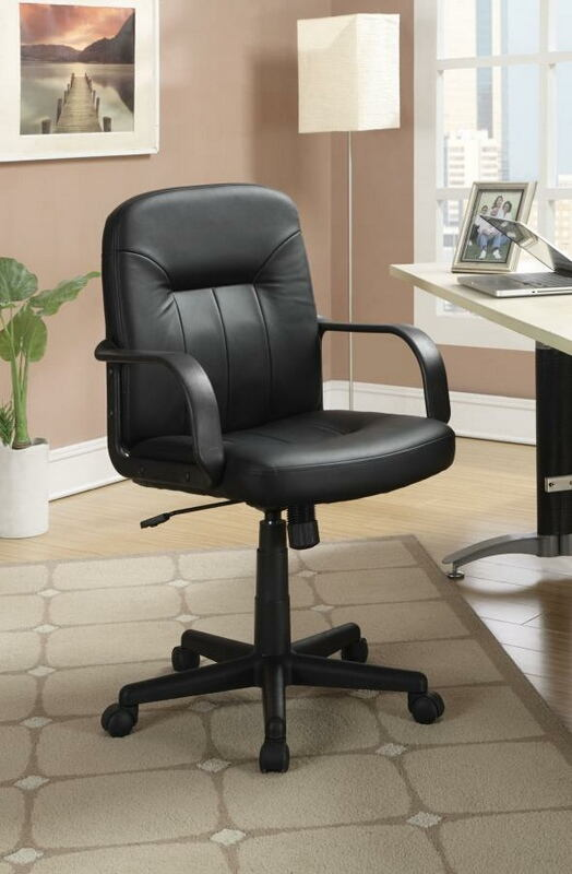 800049 Orren ellis task chair black faux leather office chair with casters