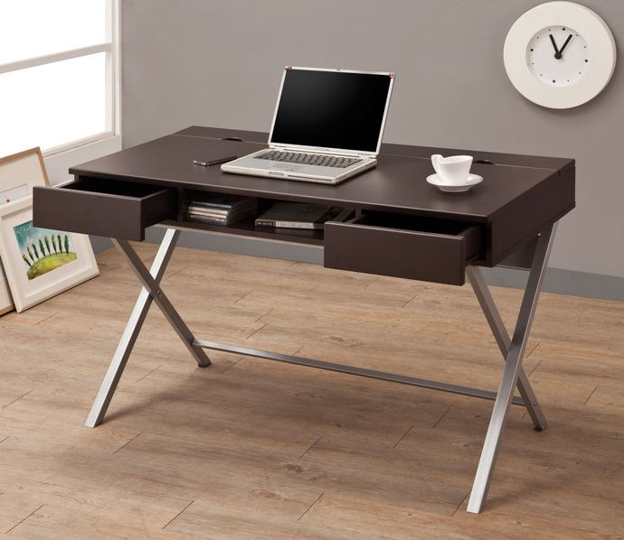Espresso finish wood and x shaped silver finish metal legs computer desk with drawers