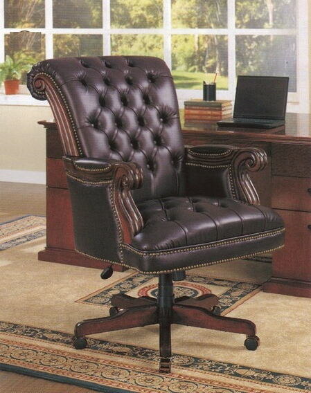 Leather high back tufted seat and back executive office chair with pin trim