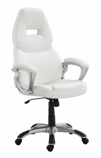 Brandon collection stylish seat and back white faux leather office chair with casters
