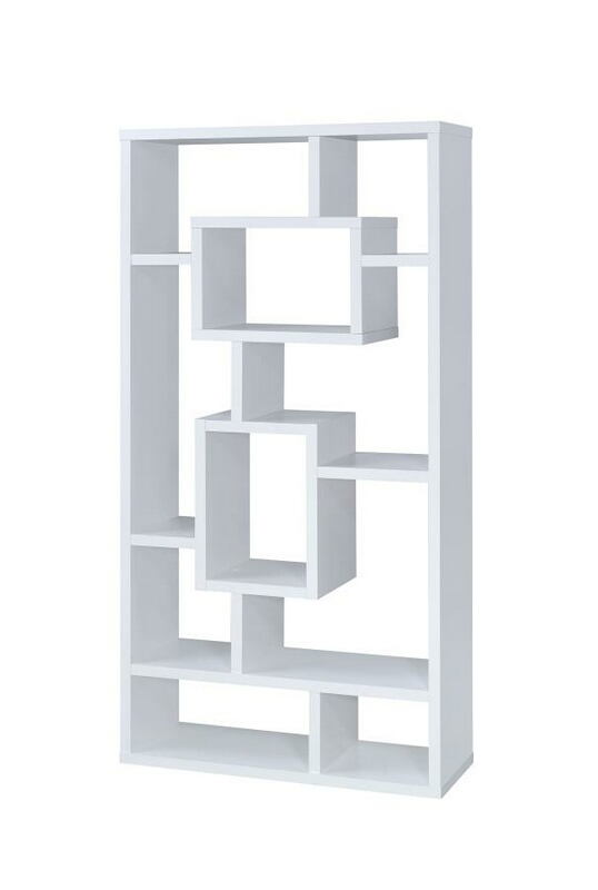800157 Wrought studio cyrus white finish wood bookshelf with multi size compartments