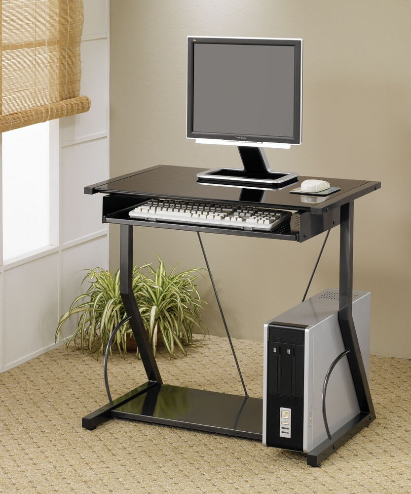 800217 Black finish metal frame and glass top computer desk with slide out keyboard tray and lower shelf