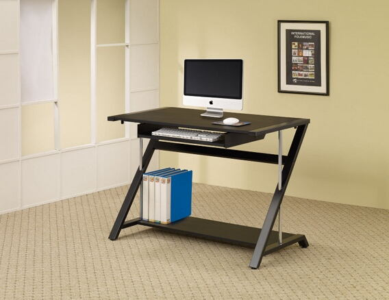 Black powder coated and chrome finish metal frame computer desk with slide out keyboard tray and lower shelf