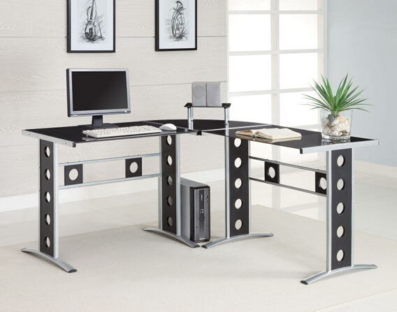 800228 Silver finish metal frame with black tempered glass top corner computer desk