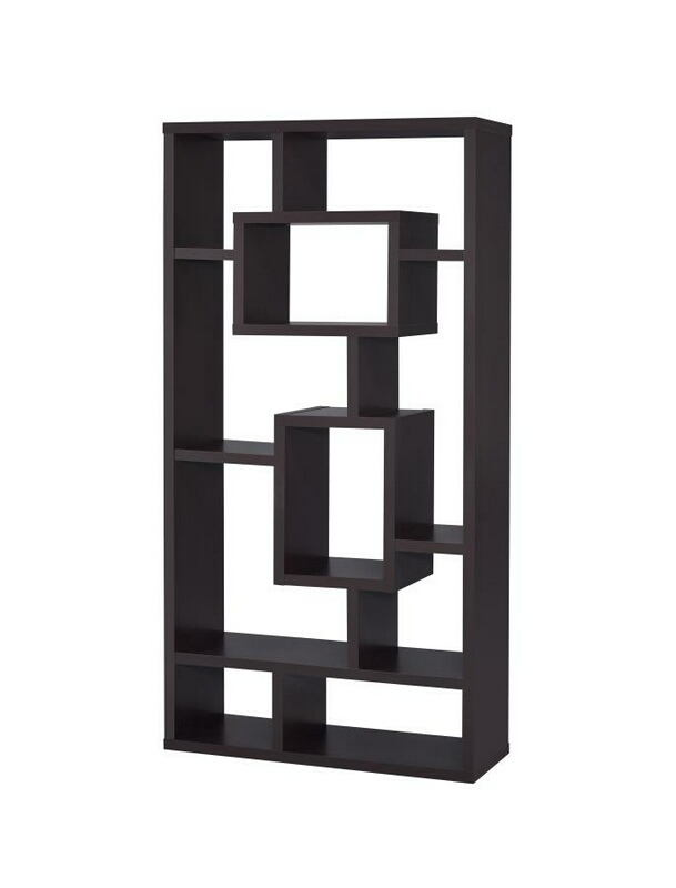 800259 Espresso finish wood bookshelf with multi size compartments
