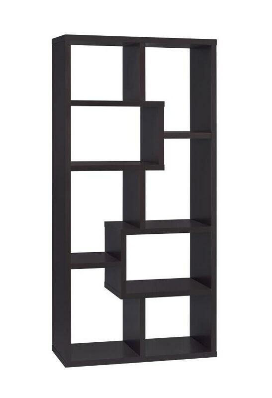 "35"" wide espresso finish wood book shelf wall unit modern style"