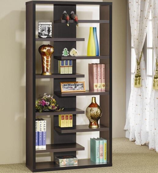 "35"" wide stepped espresso finish wood book shelf wall unit modern style"